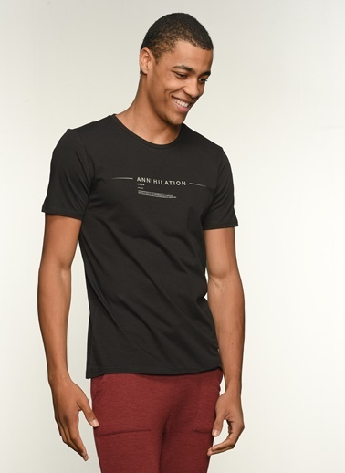 People By Fabrika Erkek Baskılı  Tişört PFESS21TS0023 Siyah